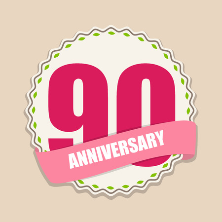 selebration: Cute Template 90 Years Anniversary Sign Vector Illustration