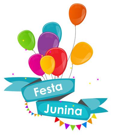 hillbilly: Festa Junina Holiday Background. Traditional Brazil June Festival Party. Midsummer Holiday. Vector illustration with Ribbon, Balloons and Flags. Illustration