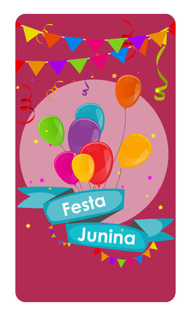 candid: Festa Junina Holiday Background. Traditional Brazil June Festival Party. Midsummer Holiday. Vector illustration with Ribbon and Flags.