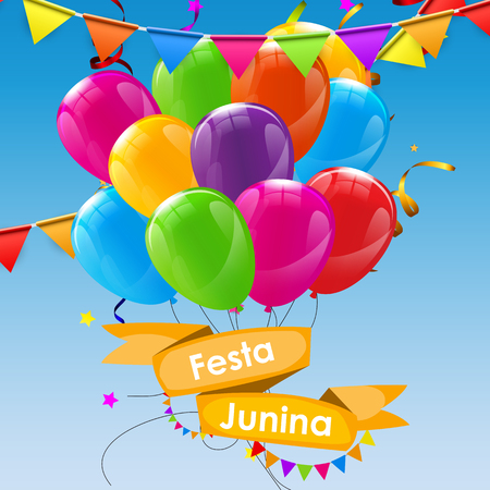 hillbilly: Festa Junina Holiday Background. Traditional Brazil June Festival Party. Midsummer Holiday. Vector illustration with Ribbon and Flags.
