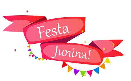 midsummer: Festa Junina Holiday Background. Traditional Brazil June Festival Party. Midsummer Holiday. Vector illustration with Ribbon and Flags.