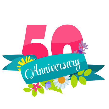 50 years anniversary: Cute Template 50 Years Anniversary Sign Vector Illustration