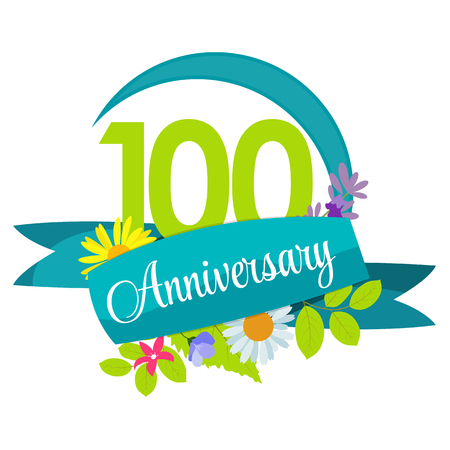 selebration: Cute Nature Flower Template 100 Years Anniversary Sign Vector Illustration
