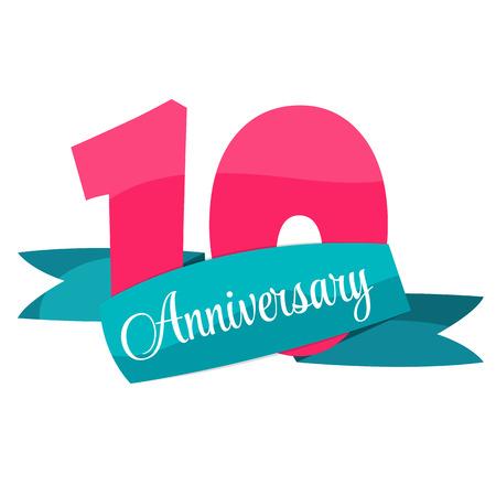 ten years jubilee: Cute Template 10 Years Anniversary Vector Illustration