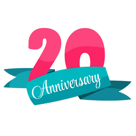 20: Cute Template 20 Years Anniversary Sign Vector Illustration
