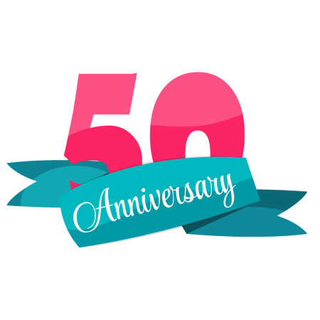 selebration: Cute Template 50 Years Anniversary Sign Vector Illustration