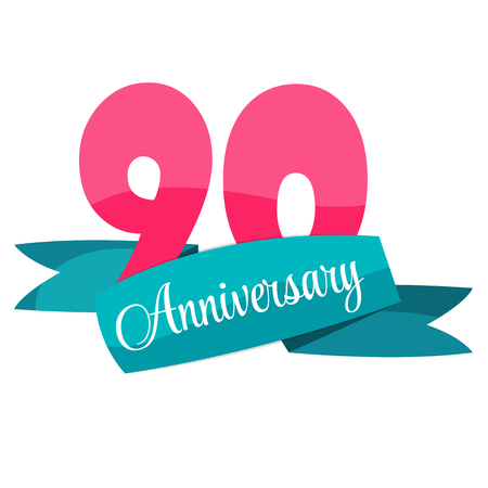 90 years: Cute Template 90 Years Anniversary Sign Vector Illustration