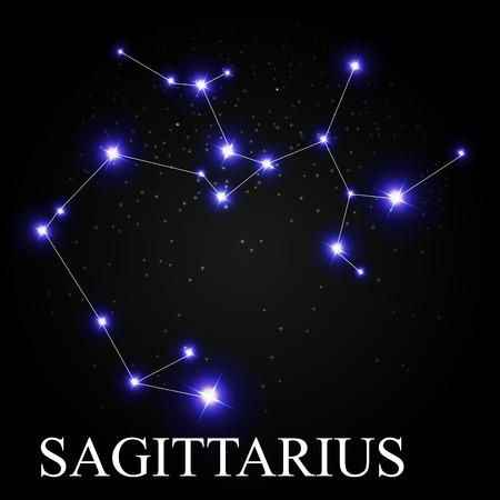 prognosis: Sagittarius Zodiac Sign with Beautiful Bright Stars on the Background of Cosmic Sky Vector Illustration EPS10