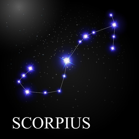 astronomic: Scorpius Zodiac Sign with Beautiful Bright Stars on the Background of Cosmic Sky Vector Illustration EPS10