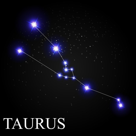 astronomic: Taurus Zodiac Sign with Beautiful Bright Stars on the Background of Cosmic Sky Vector Illustration EPS10 Illustration