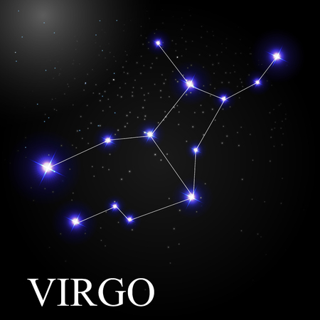 virgo zodiac sign: Virgo Zodiac Sign with Beautiful Bright Stars on the Background of Cosmic Sky Vector Illustration EPS10
