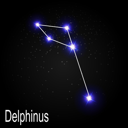 starbright: Delphinus Constellation with Beautiful Bright Stars on the Background of Cosmic Sky Vector Illustration EPS10 Illustration