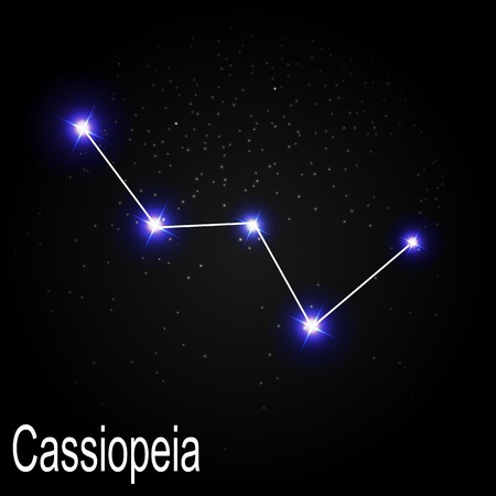 starbright: Cassiopeia Constellation with Beautiful Bright Stars on the Background of Cosmic Sky Vector Illustration EPS10