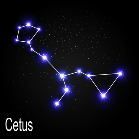starbright: Cetus Constellation with Beautiful Bright Stars on the Background of Cosmic Sky Vector Illustration EPS10
