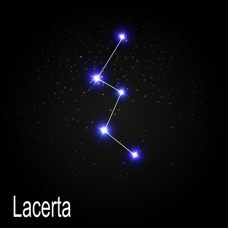 starbright: Lacerta Constellation with Beautiful Bright Stars on the Background of Cosmic Sky Vector Illustration EPS10