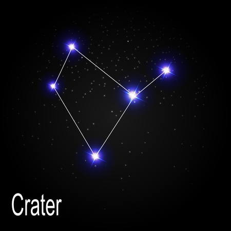 Crater Constellation with Beautiful Bright Stars on the Background of Cosmic Sky Vector Illustration EPS10 Ilustração Vetorial