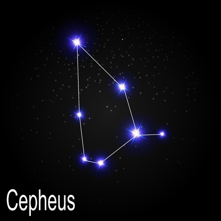 starbright: Cepheus Constellation with Beautiful Bright Stars on the Background of Cosmic Sky Vector Illustration EPS10