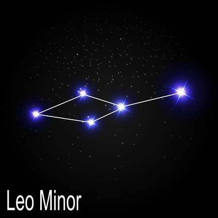 starbright: Leo Minor Constellation with Beautiful Bright Stars on the Background of Cosmic Sky Vector Illustration EPS10