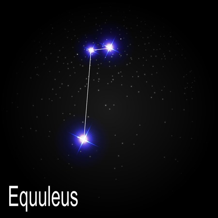 starbright: Equuleus Constellation with Beautiful Bright Stars on the Background of Cosmic Sky Vector Illustration EPS10