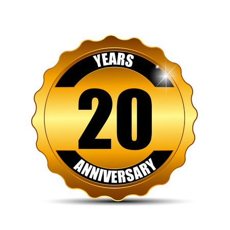 selebration: Anniversary Gild Label Sign Template Vector Illustration EPS10