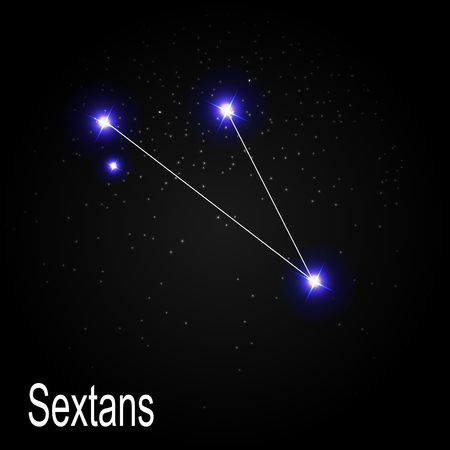 starbright: Sextans Constellation with Beautiful Bright Stars on the Background of Cosmic Sky Vector Illustration EPS10