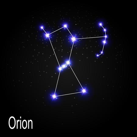 Constelación de Orión con hermosas estrellas brillantes en el fondo del cielo cósmico ilustración vectorial EPS10