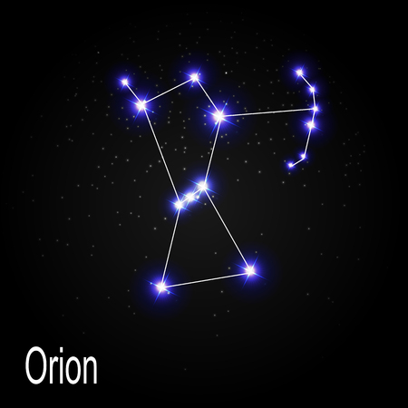 Orion Constellation with Beautiful Bright Stars on the Background of Cosmic Sky Vector Illustration EPS10
