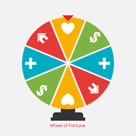 lucky money: Wheel of Fortune, Lucky Icon with Money, Health, Home and Love Sign. Vector Illustration