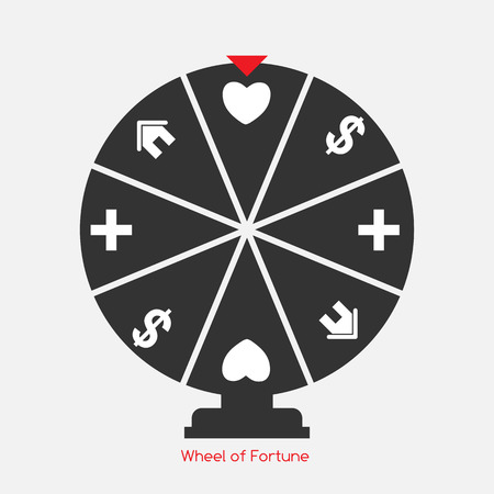 wheel of fortune: Wheel of Fortune, Lucky Icon with Money, Health, Home and Love Sign. Vector Illustration