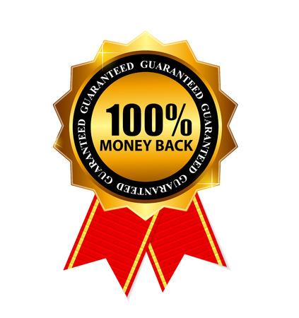 Gold Label 100 Money back. Vector Illustration Illustration