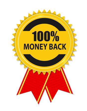 hundred: Gold Label 100 Money back. Vector Illustration Illustration