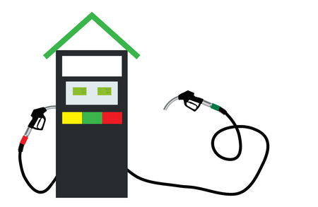 refueling: Filling Gun on Refueling the Car. Vector Illustration. Illustration
