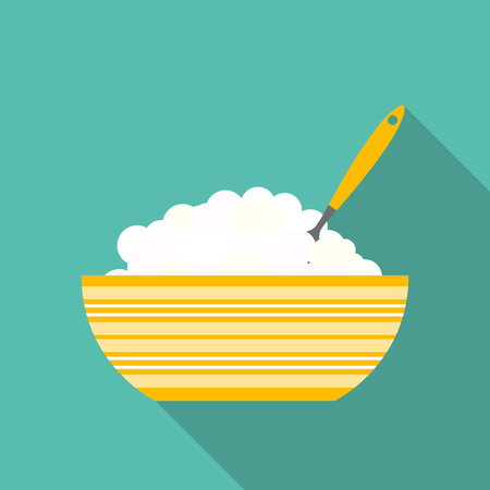 breakfast cereal: Breakfast Cereal Oatmeal, Icon in Modern Flat Style Vector Illustration