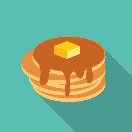 Breakfast Sweet Pancake Icon in Modern Flat Style Vector Illustration
