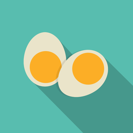 boiled eggs: Breakfast Boiled Eggs Icon in Modern Flat Style Vector Illustration