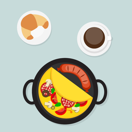 omelet: Breakfast Omelet with Sausage Icon in Modern Flat Style Vector Illustration