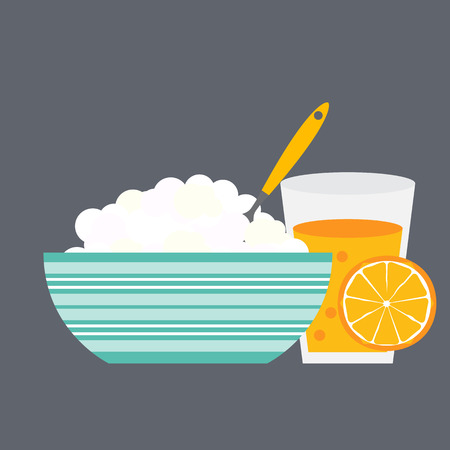 breakfast cereal: Breakfast Cereal Oatmeal and Orange Juice, Icon in Modern Flat Style Vector Illustration