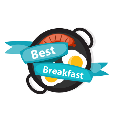 scrambled: Breakfast Scrambled Eggs with Sausage Icon in Modern Flat Style Vector Illustration Illustration
