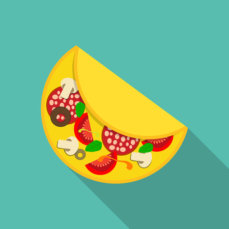 omelet: Breakfast Omelet Icon in Modern Flat Style Vector Illustration