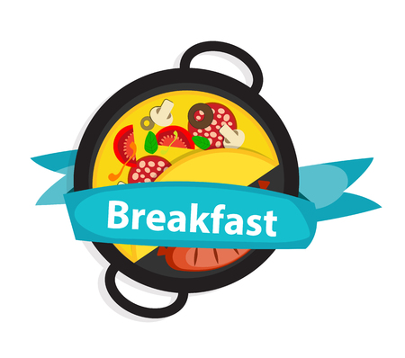 omelet: Breakfast Omelet with Sausage Icon in Modern Flat Style