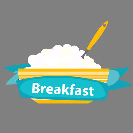 breakfast cereal: Breakfast Cereal Oatmeal, Icon in Modern Flat Style