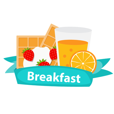 breakfast cereal: Breakfast Cereal Oatmeal and Orange Juice, Icon in Modern Flat Style Illustration