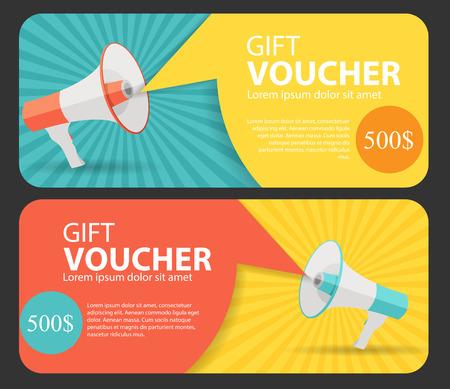 message bubble: Gift Voucher Template For Your Business.  Megaphone and Speech Bubble.