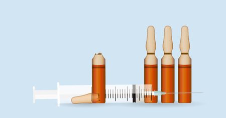 an ampoule: Syringe with Transparent ampoule with substance on blue background.