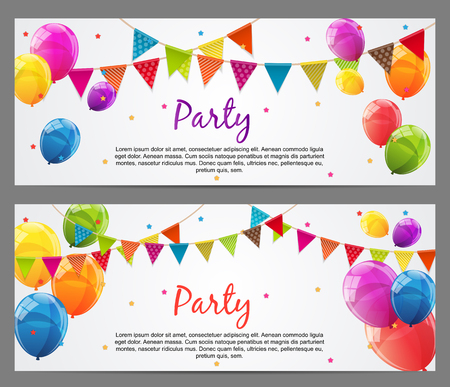 baner: Party Background Baner with Flags and Balloons Illustration