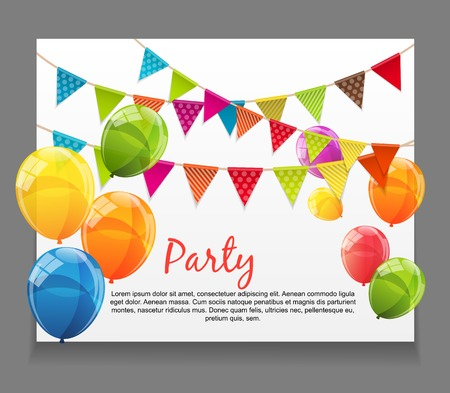 Party Background Baner with Flags and Balloons Vector Illustration. Ilustração