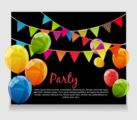 Party Background Baner with Flags and Balloons Ilustração