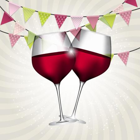 渦巻き模様の背景に赤のワインの完全なガラス