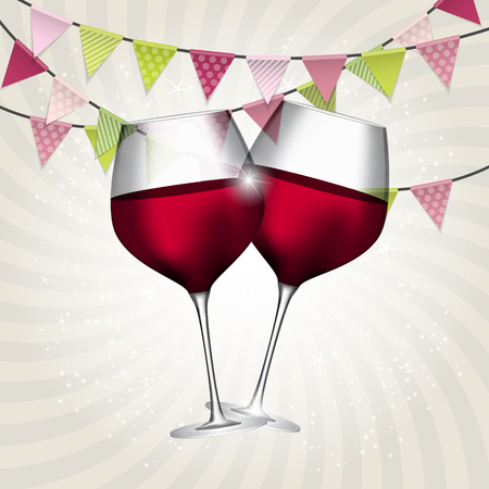 Full Glass of Red Wine on Swirl Background