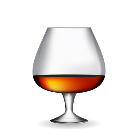 rum: Glass Collector 50 year-old French Cognac on White Background. Vector Illustration. EPS10